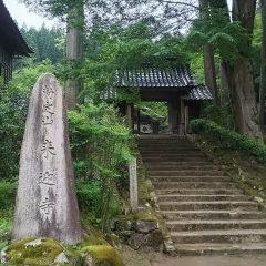 杉野巨木がならぶ昔と変わらぬ姿を今に伝える来迎寺山門